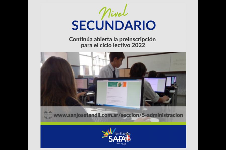 Pre-Inscripción para el Ciclo Lectivo 2022. - Colegio San José Tandil