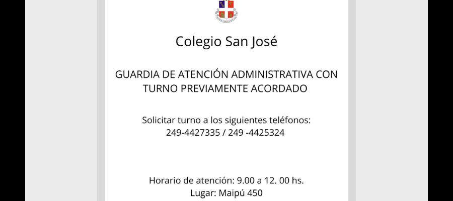 GUARDIA DE ATENCIÓN ADMINISTRATIVA - Colegio San José Tandil